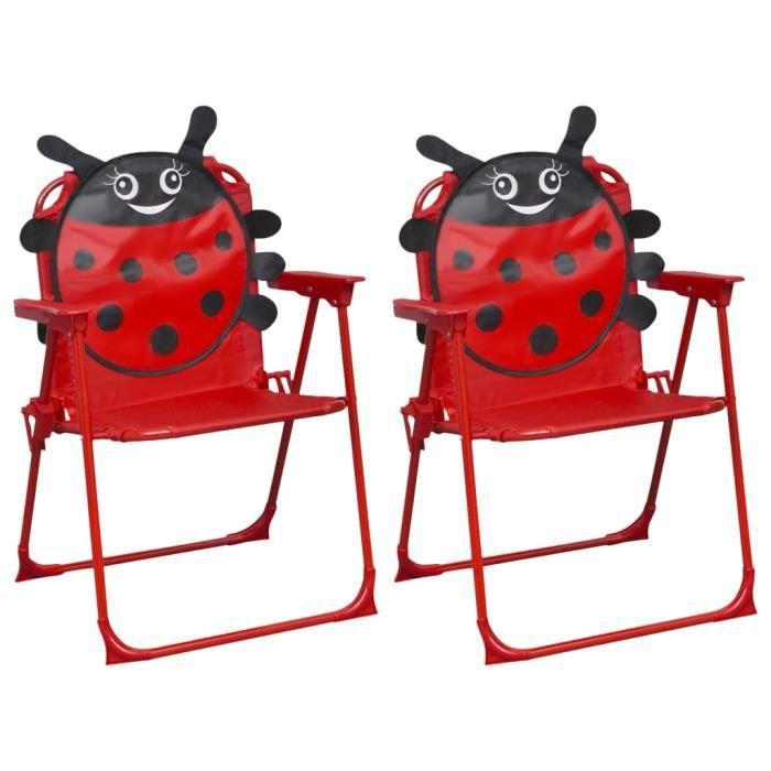 HENGL Chaises de jardin pour enfants 2 pcs Rouge Tissu #1
