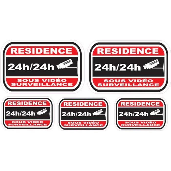 Lot de stickers vidéosurveillance -Résidence-