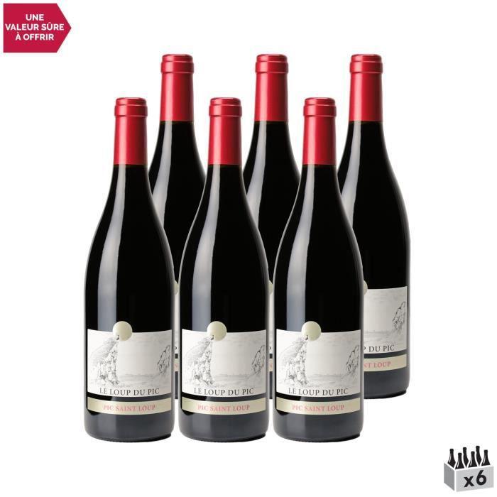 Château Puech Haut Pic Saint-Loup Le loup du Pic Rouge 2019 - Lot de 6x75cl - Vin AOC Rouge du Languedoc - Roussillon