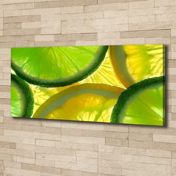 Tulup 125x50 cm art mural - Image sur toile:- Nourriture boissons - Citron Vert Citron - Vert Mixte Bleu