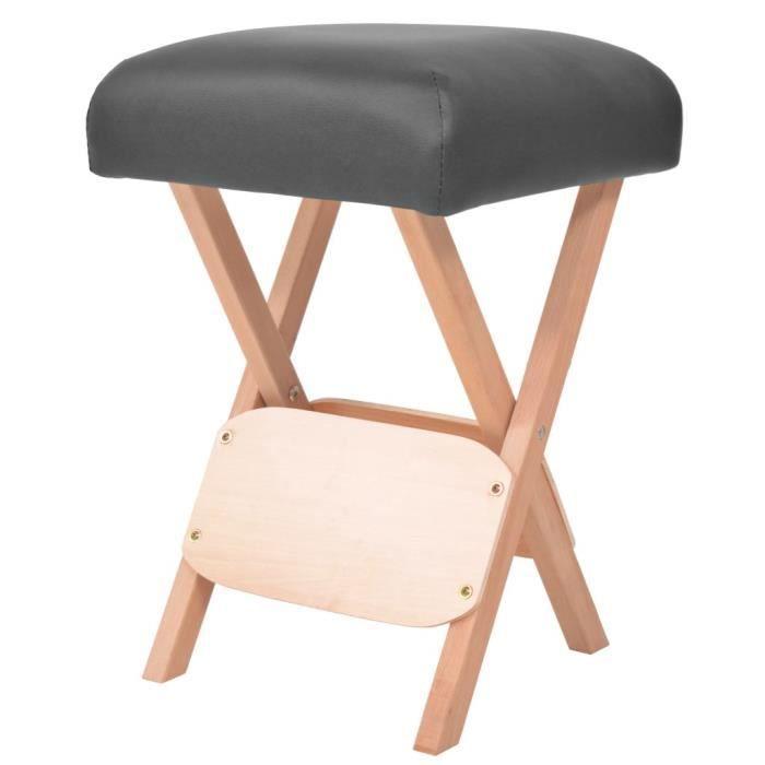 Déco Tabouret de massage pliant - Tabourets de bar - Appareil de massage avec siège 12 cm d'épaisseur Noir ®LVBNQU®