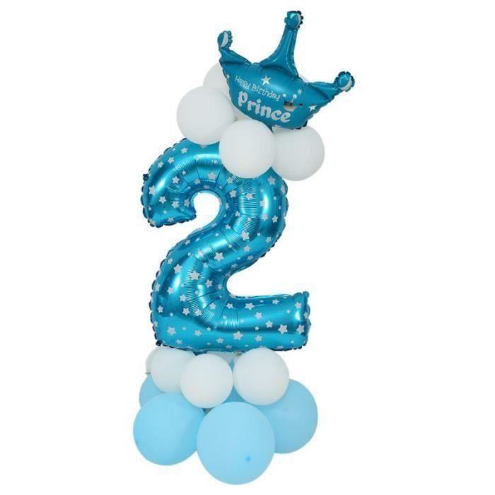 HT Ballon d'Aluminium Balloon de Numero Ballon en Latex Ballon Enorme Bleu de Numero Decoration d'Anniversaire.... - HTTS823AA0701