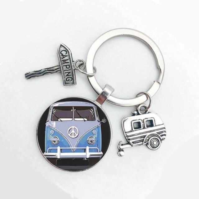 Porte-clés en forme de Van Bus pour hommes et femmes, nouveau Style, signe de paix Hippie, porte-clé à la mode, pour s 2 -MEAI2239