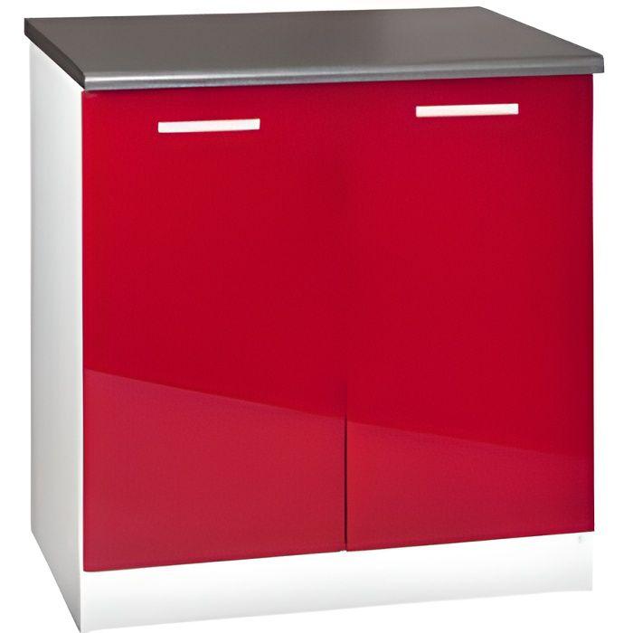 Meuble cuisine bas 80 cm 2 portes TARA rouge