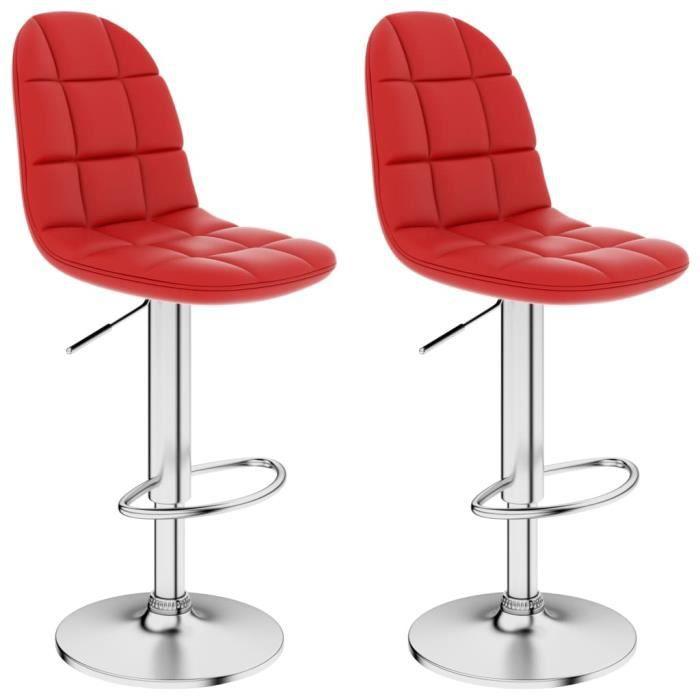 Magnifique Lot de 2 Tabourets de salon Tabourets de bar Design Chaise de bar - Rouge bordeaux Similicuir @57305