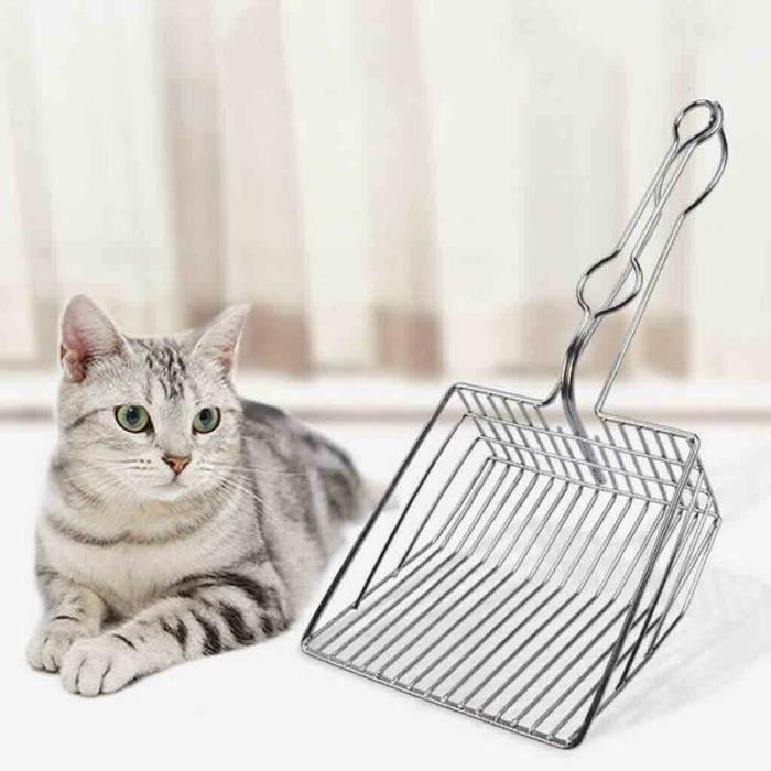 Sac de proprete excrements,Chat acier inoxydable métal Pooper Scoopers animaux de compagnie litière sable pelle Pet - Type Argent