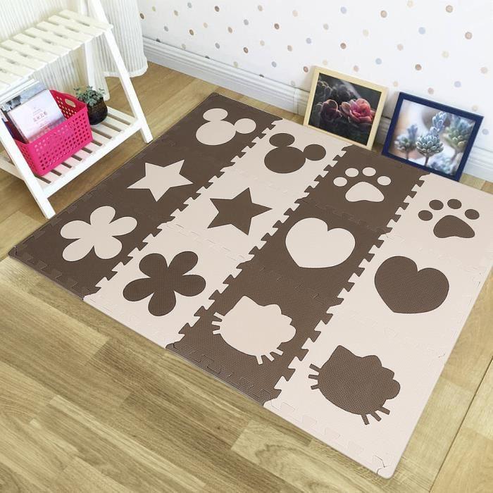 24 Pcs Dalles Mousse Doux Tapis ZHONGLI pour Enfants Bébé Puzzle Tapis en Mousse EVA Activité Tapis de Jeu Carreaux Beige and Marron