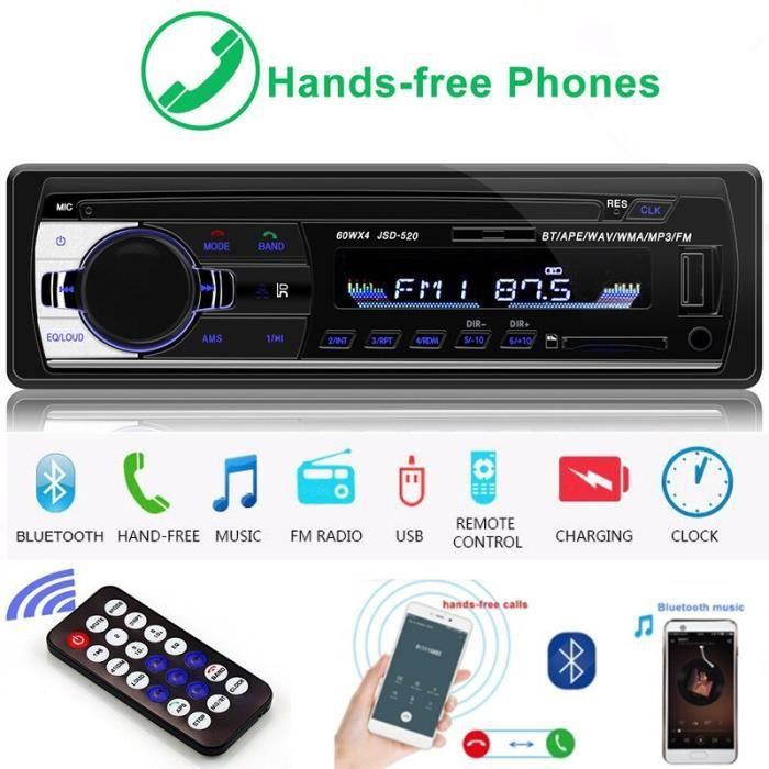 LTBFM JSD520 Autoradio Bluetooth Autoradio 1 Din Auto Radio FM USB entrée AUX récepteur SD voiture lecteur MP3 télécommande
