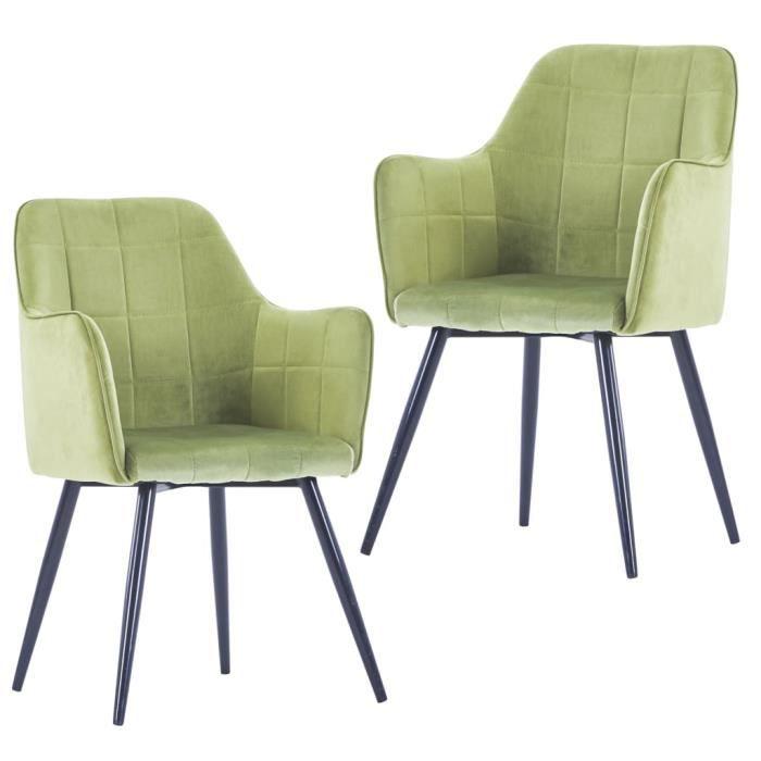 Lot de 2 Chaise Scandinave Chaise de Salon - Vert clair Velours & Siège Rembourré épais - Pied en Métal - 57,5 x 54 x 85,5 cm