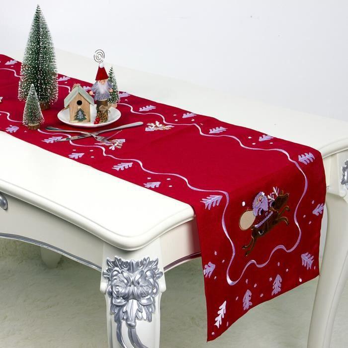 Chemin de Table brodé 180*40cm ~Rouge MC5297