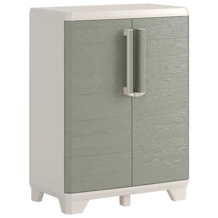 Table basse Armoire de rangement basse scandinave contemporain meubles salon-séjour - de jardin Crème et taupe - 68 x 39 x 97 cm (l
