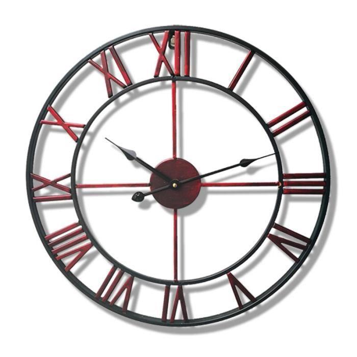 Horloge,Horloge murale en fer de Style européen, décoration d'intérieur créative, Design indépendant, Style - Type Rouge - 16 pouce