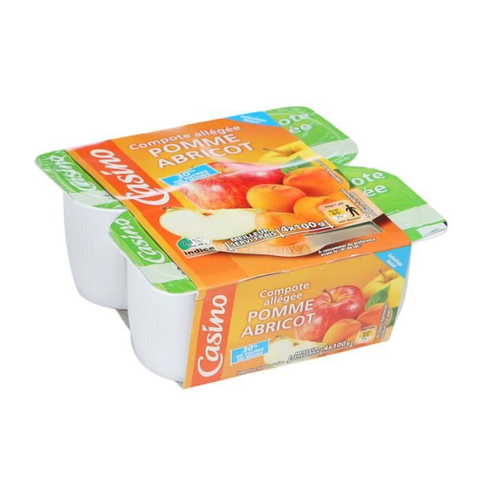 Lot de 4 Compotes allégées de pomme et abricot - 400 g