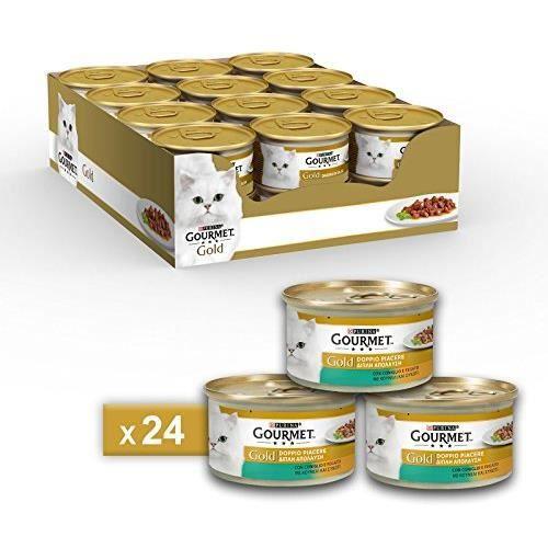 Gourmet purine Gold Humide Chat Double Plaisir avec Lapin et Foie – 24 canettes de chacune 85 g (Pack de 24 x 85 g) 12131609