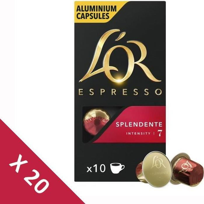 [Lot de 20] Café Capsules L'Or Espresso Splendente - intensité 7 - compatible Nespresso®* - 10 capsules - 52g