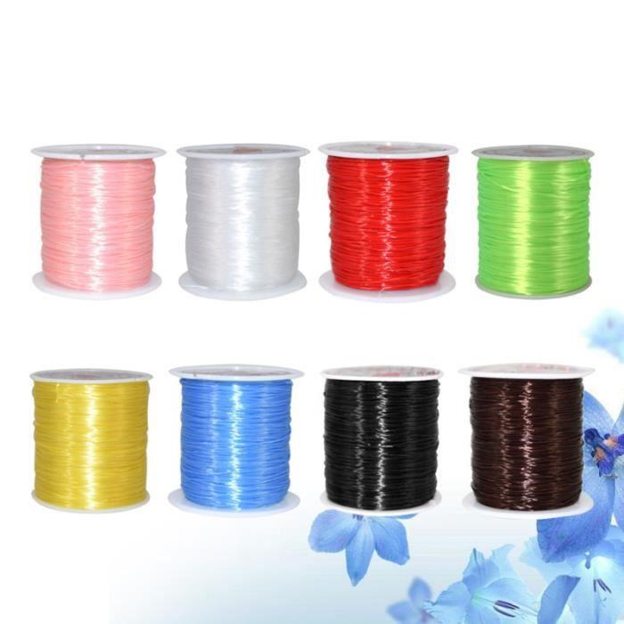 8 rouleaux élastique chaîne cristal pour le collier de bijoux (bleu clair, rouge, blanc, jaune, café noir, vert, rose, 0,5 mm)