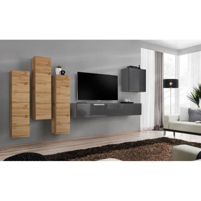 Meuble TV mural SWITCH III design, coloris gris brillant et chêne Wotan. 40 Gris