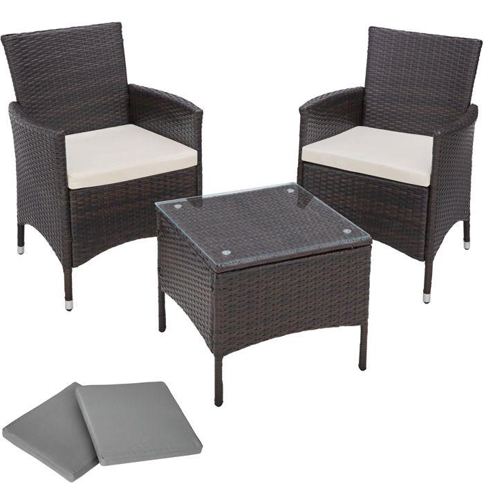 TECTAKE Salon de jardin ATHENES - 2 Chaises Fauteuils et 1 Table en Résine Tressée structure Aluminium Marron