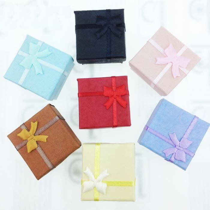 5 x Boîtes Cadeaux Elégantes de Luxe Carrées Courbes Anneaux pour Présentation de Bijoux