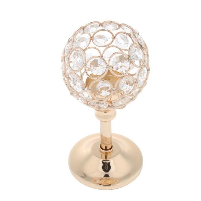 Porte-bougie En Cristal Mosaïque Supporte de Bougie pour Fête Décoration Ornement Cérémonie Golden- S