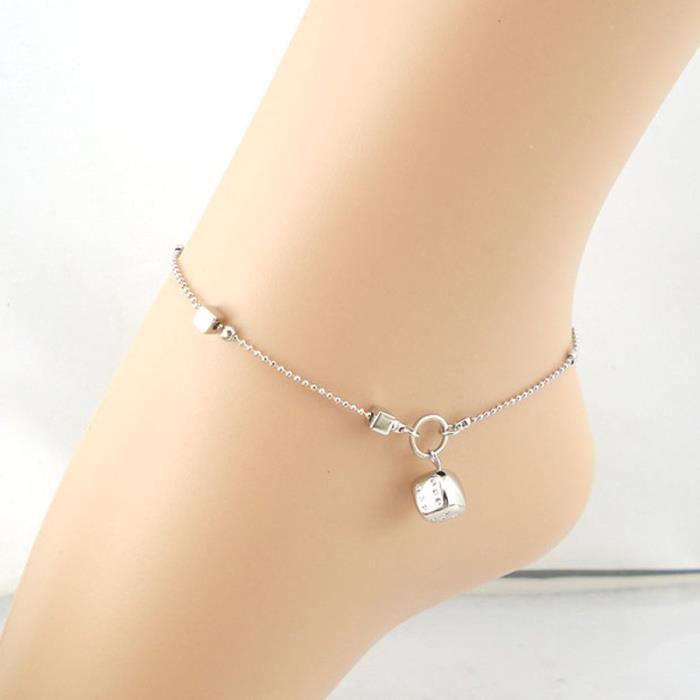 CHAINE DE CHEVILLE CHAINE DE CHEVILLE Femmes Argent Dice Bracelet Ank