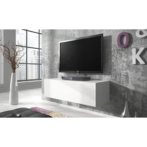Meuble tv point 100cm matte blanc blanc brillant - Meuble tv 100 cm ...
