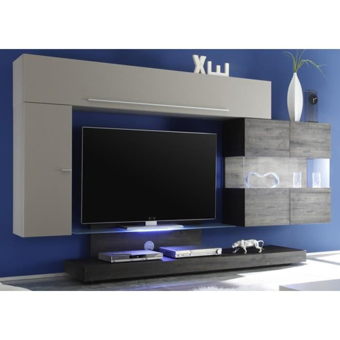 ensemble tv mural gris. Black Bedroom Furniture Sets. Home Design Ideas