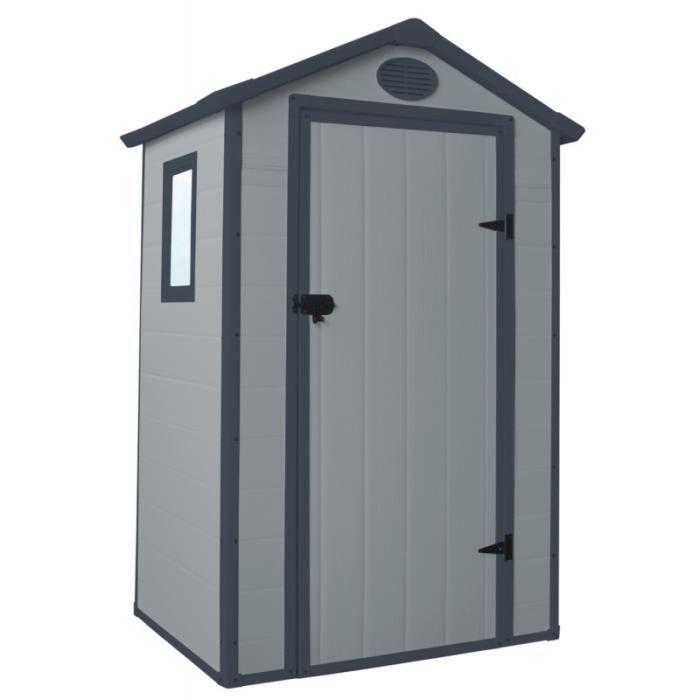ABRI JARDIN - CHALET Petit abri de jardin en résine gris 1,34m² + kit d