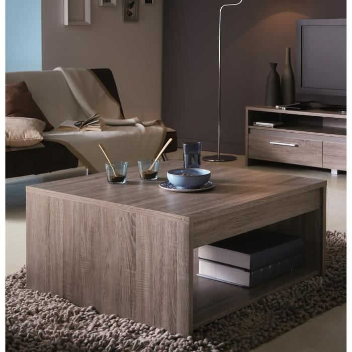 table basse 80x80 cm coloris chene fonc steen salon salle manger bon prix moncornerdeco. Black Bedroom Furniture Sets. Home Design Ideas