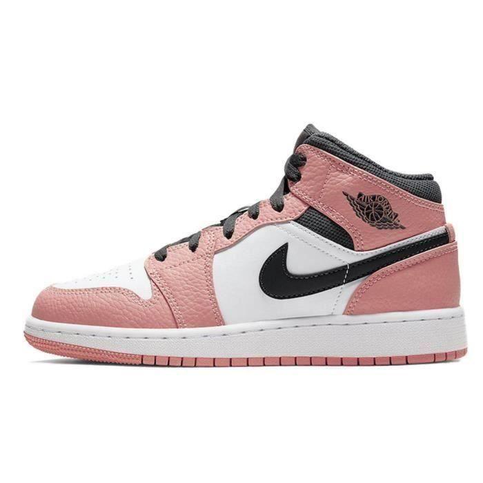 NIKE Air Jordan 1 Mid Pink Quartz(GS)basket pour femme Pink ...