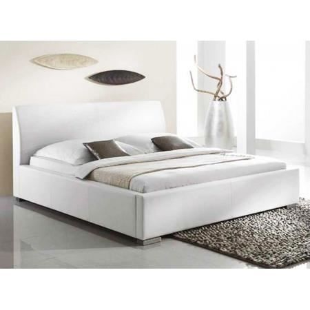lit design blanc maya 200x200 cm achat vente structure de lit cdiscount. Black Bedroom Furniture Sets. Home Design Ideas