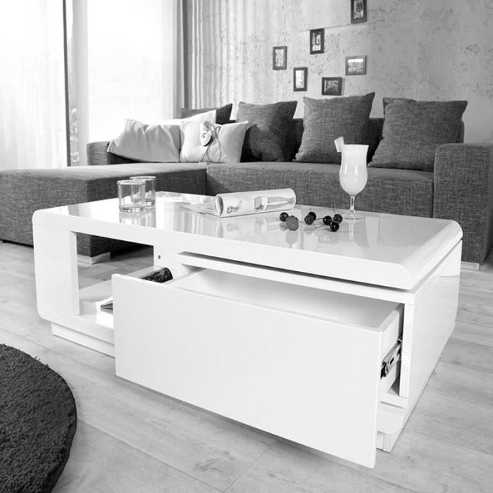table basse blanche laqu brillant avec rangement. Black Bedroom Furniture Sets. Home Design Ideas