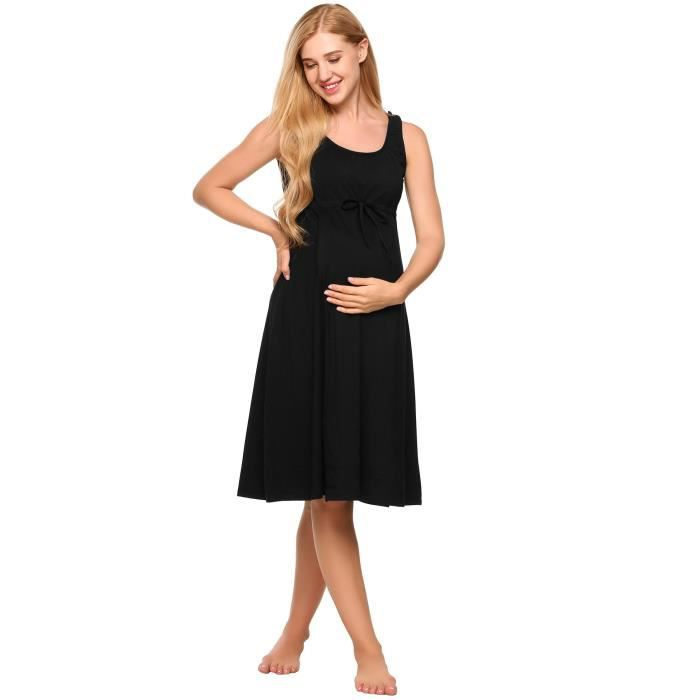 Womens O-neck Sleeveless Solid Front Tie Nightdress Breastfeeding Nursing & Maternity Dress 1WDLDI Taille-40