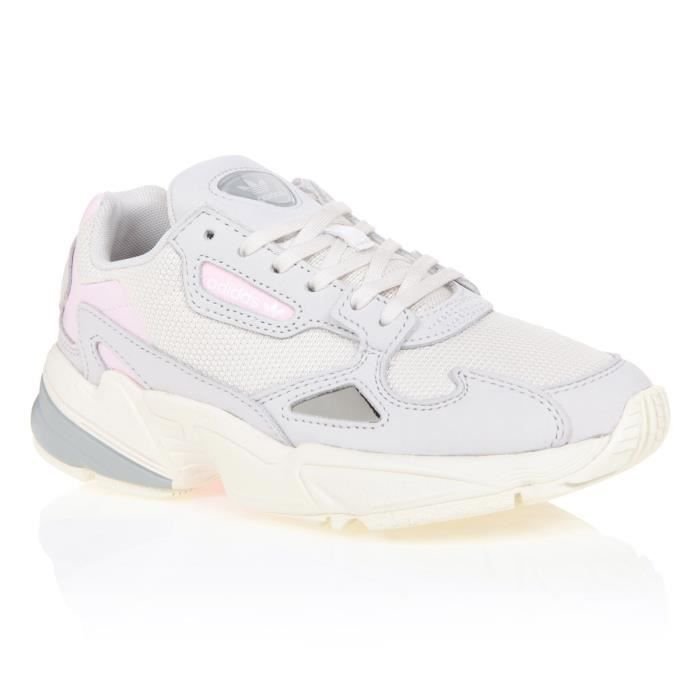 ADIDAS ORIGINALS Baskets Falcon - Femme - Blanc, gris et rose