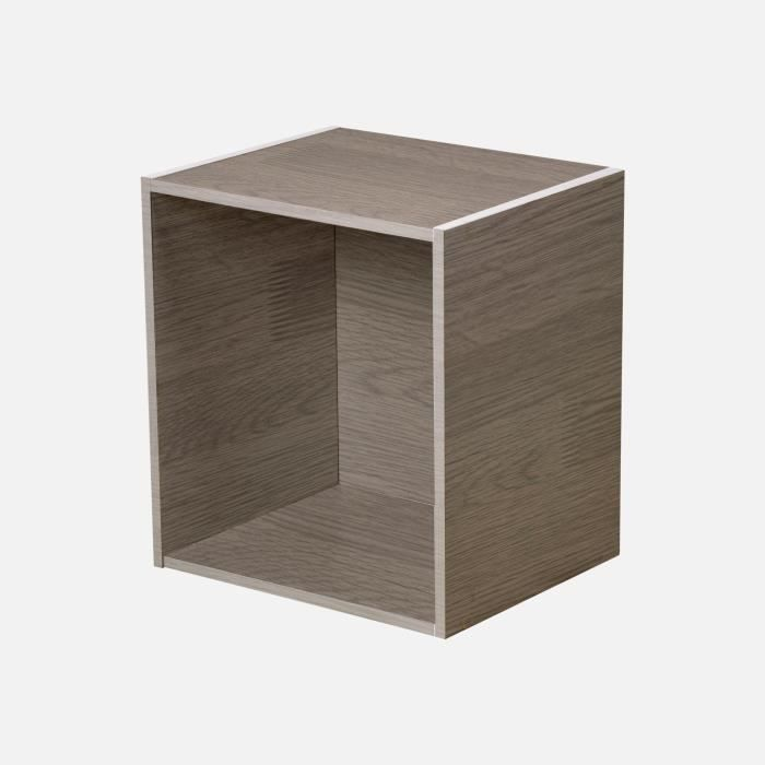 HOMEA Cube de rangement avec 1 niche 34,4x34,4x29,5 cm gris cérusé