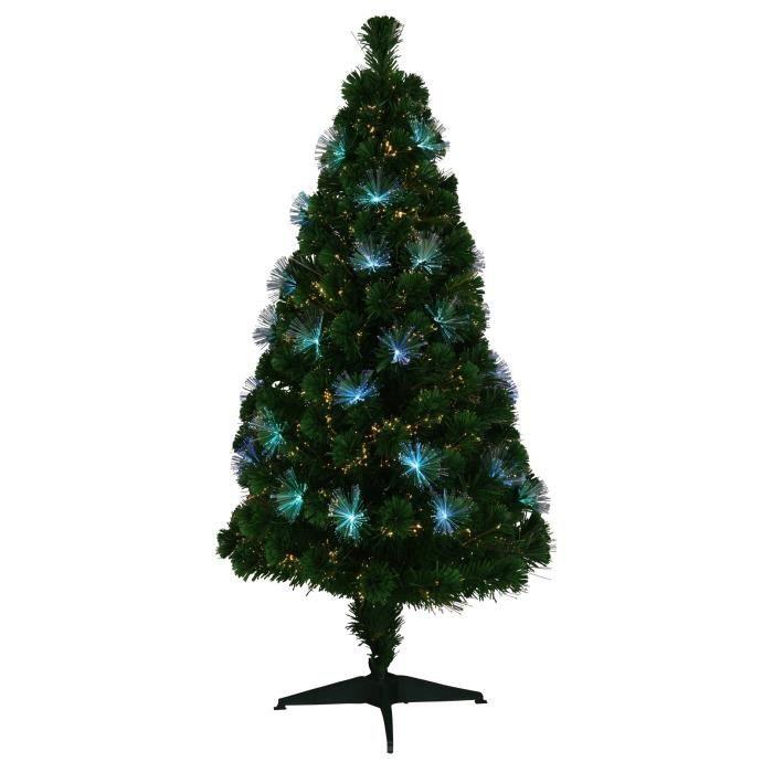 Sapin de Noël artificiel Fibre optique Los Angeles - 64 LED - 170 branches - 150 cm
