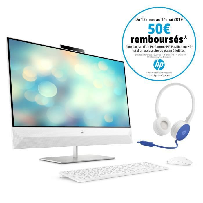 HP PC Tout-en-un Pavilion 27-xa0057nf 27'' FHD - Intel Core i5 - RAM 8Go - Stockage 2To - Intel HD Graphics 630 - W10 + casque HP