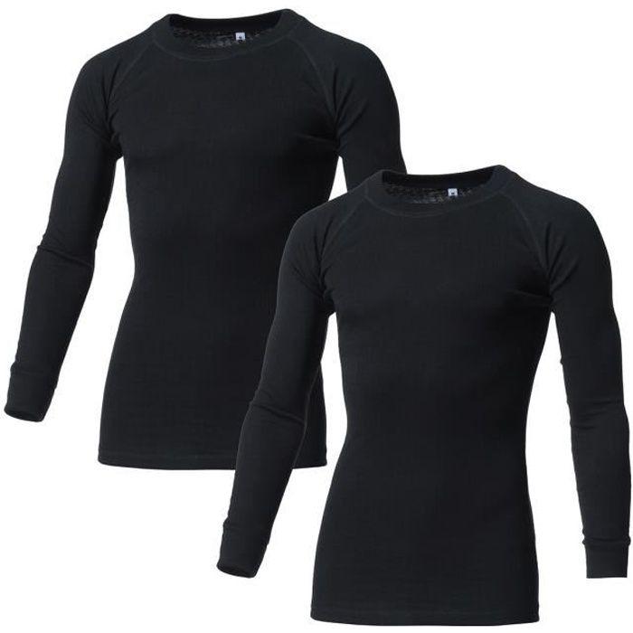 AVENTO Lot de 2 Sous-vêtements Thermiques Manches Longues - Homme - Noir