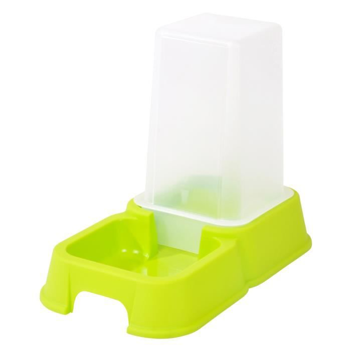 Distributeur d'eau ou de croquettes - 3,5 l - 26x15x24 cm - Vert anis - Pour chat