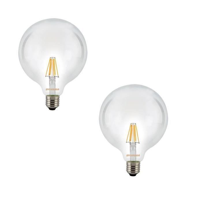 SYLVANIA Lot de 2 ampoules LED à filament Toledo RT G120 E27 7,5 W équivalent à 75 W