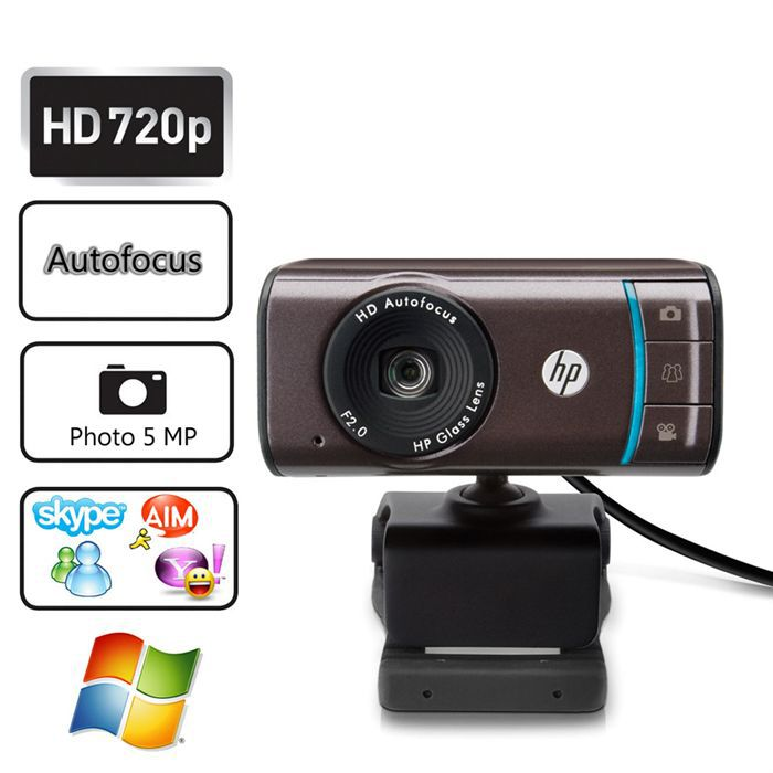 Webcam HD 720p - Format 16:9 - Photos 5 MP interpolés - Autofocus - Zoom ...