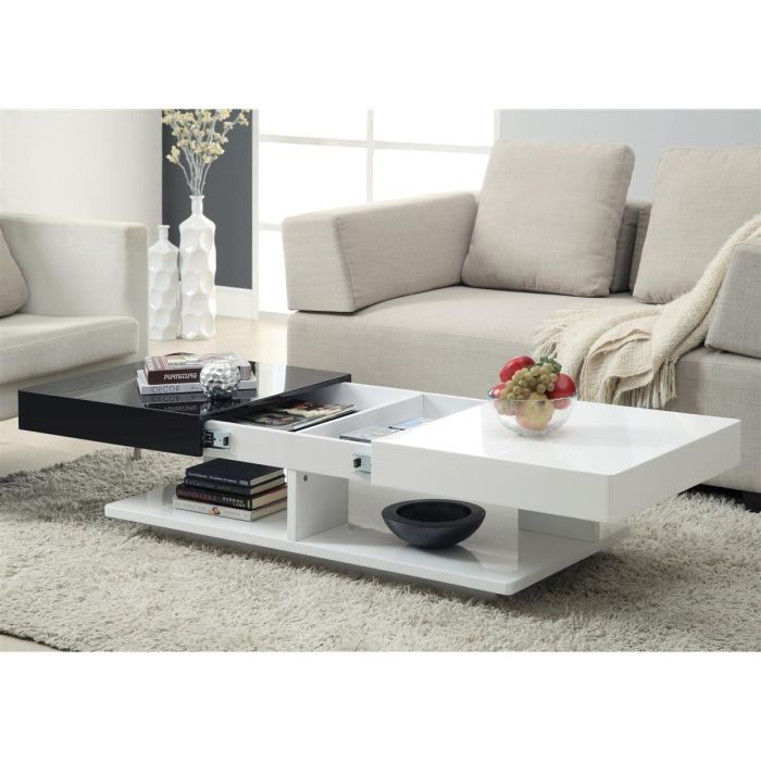 smith table basse laqu e plateau coulissant achat. Black Bedroom Furniture Sets. Home Design Ideas