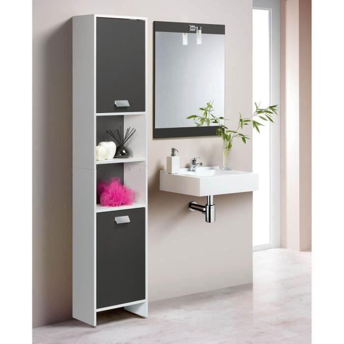 TOP Colonne de salle de bain L 40 cm - Blanc et gris mat ...