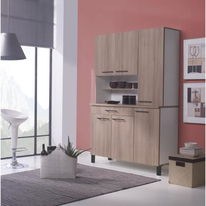 agueda buffet de cuisine m lamin blanc ch ne achat. Black Bedroom Furniture Sets. Home Design Ideas