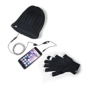 CASQUE - ÉCOUTEURS Kit bonnet d'hiver avec casque stéréo intégré et g