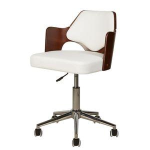 CHAISE DE BUREAU KIRUNA Chaise de bureau en simili blanc - Accoudoi