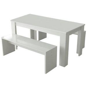 TABLE À MANGER COMPLÈTE NEW MILANO Table à manger de 6 à 8 personnes + 2 b