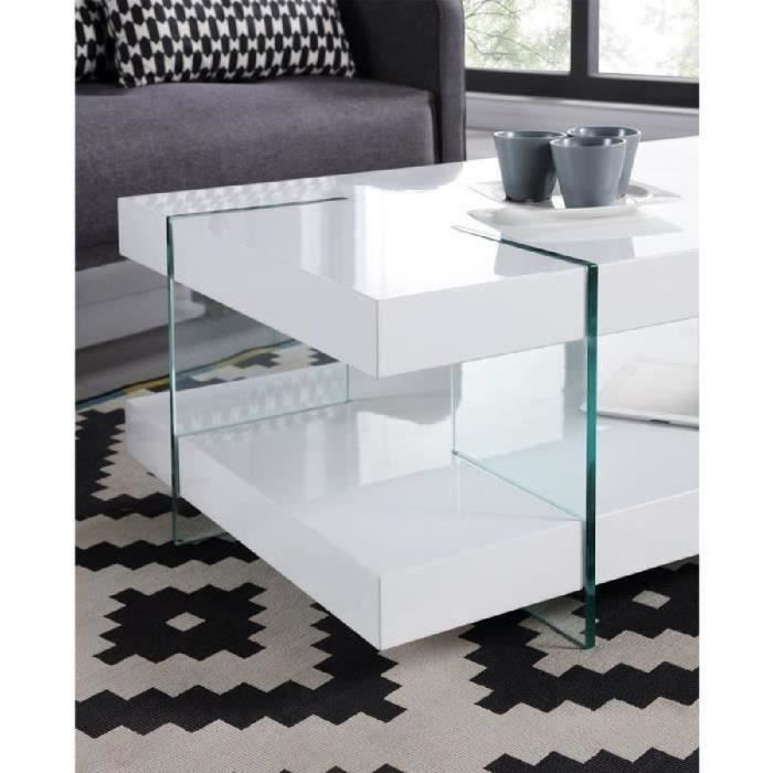 Crea table basse style contemporain pieds en verre tremp - Table salon verre trempe ...