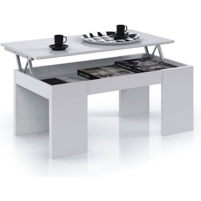 Kendra table basse transformable plateau relevable for Table qui se leve