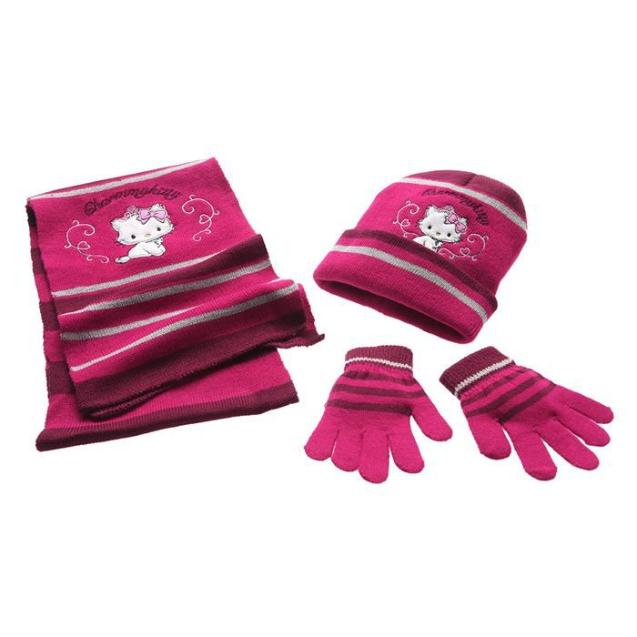 charmmy kitty echarpe gants et bonnet fille fuschia. Black Bedroom Furniture Sets. Home Design Ideas